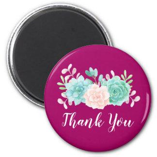 Pastel Pink & Green Floral Bouquet on Magenta Back Magnet