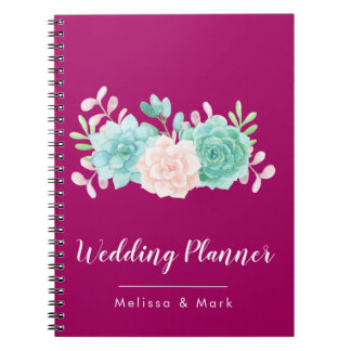 Pastel Pink & Green Floral Bouquet on Magenta Back Notebook