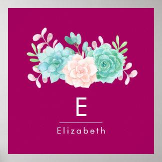 Pastel Pink & Green Floral Bouquet on Magenta Back Poster