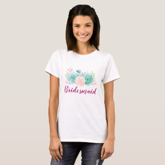 Pastel Pink & Green Floral Bouquet T-Shirt