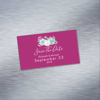 Pastel Pink & Green Floral Wedding Save The Date Magnetic Business Card