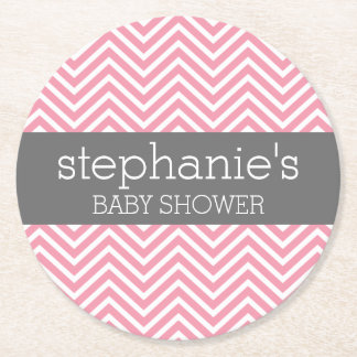 Pastel Pink & Grey Chevrons Baby Shower Collection Round Paper Coaster