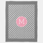 Pastel Pink & Grey Polka Dots with Custom Monogram Fleece Blanket