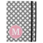 "Pastel Pink & Grey Polka Dots with Custom Monogram iPad Pro 12.9"" Case"