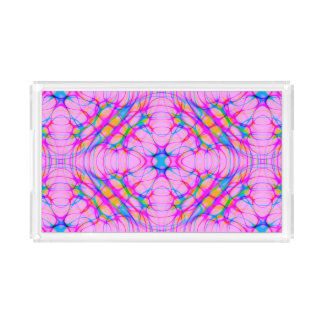 Pastel Pink Kaleidoscope Pattern Abstract Acrylic Tray