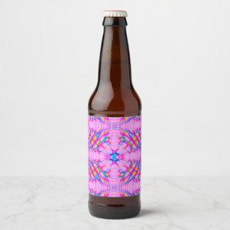 Pastel Pink Kaleidoscope Pattern Abstract Beer Bottle Label