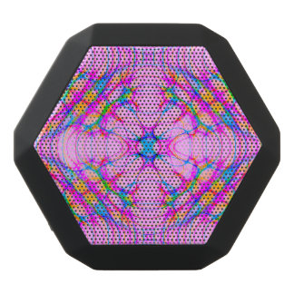 Pastel Pink Kaleidoscope Pattern Abstract Black Bluetooth Speaker