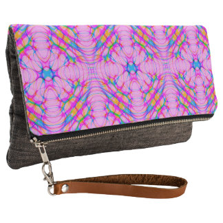 Pastel Pink Kaleidoscope Pattern Abstract Clutch