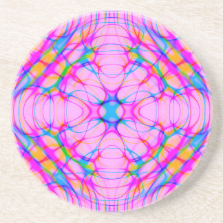 Pastel Pink Kaleidoscope Pattern Abstract Coaster