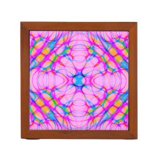 Pastel Pink Kaleidoscope Pattern Abstract Desk Organizer