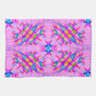 Pastel Pink Kaleidoscope Pattern Abstract Kitchen Towel