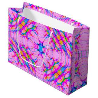 Pastel Pink Kaleidoscope Pattern Abstract Large Gift Bag