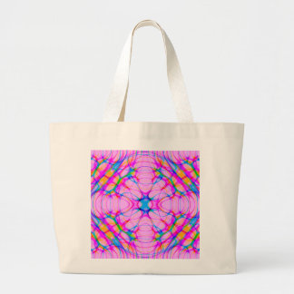 Pastel Pink Kaleidoscope Pattern Abstract Large Tote Bag