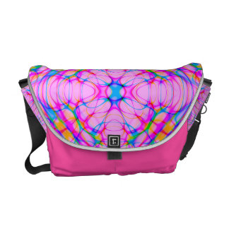 Pastel Pink Kaleidoscope Pattern Abstract Messenger Bags