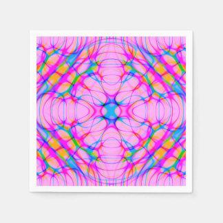 Pastel Pink Kaleidoscope Pattern Abstract Paper Napkin