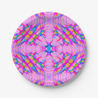 Pastel Pink Kaleidoscope Pattern Abstract Paper Plate