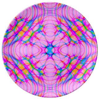 Pastel Pink Kaleidoscope Pattern Abstract Plate