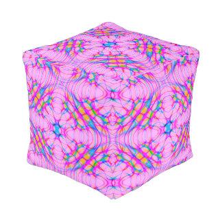 Pastel Pink Kaleidoscope Pattern Abstract Pouf