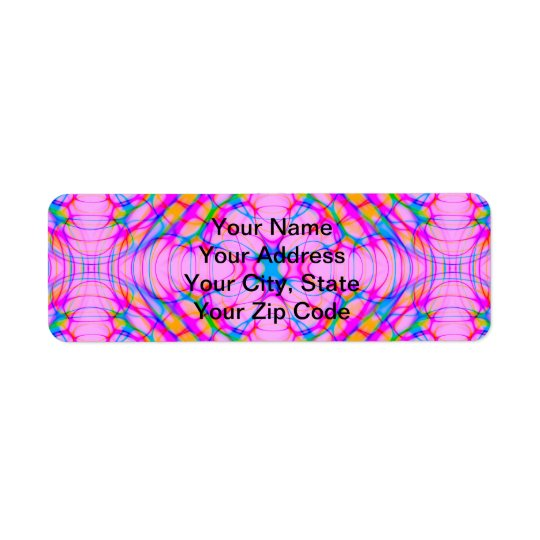 Pastel Pink Kaleidoscope Pattern Abstract   Pretty Return Address Label