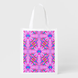 Pastel Pink Kaleidoscope Pattern Abstract Reusable Grocery Bag