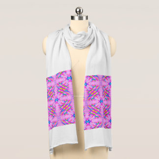 Pastel Pink Kaleidoscope Pattern Abstract Scarf