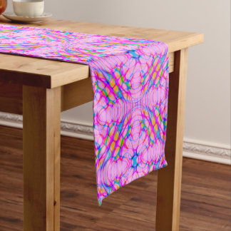 Pastel Pink Kaleidoscope Pattern Abstract Short Table Runner