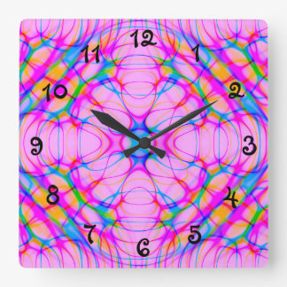 Pastel Pink Kaleidoscope Pattern Abstract Square Wall Clock
