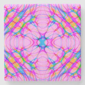 Pastel Pink Kaleidoscope Pattern Abstract Stone Coaster