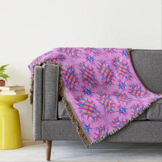 Pastel Pink Kaleidoscope Pattern Abstract Throw Blanket