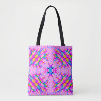 Pastel Pink Kaleidoscope Pattern Abstract Tote Bag
