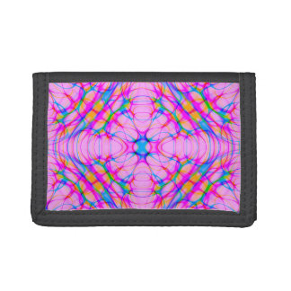 Pastel Pink Kaleidoscope Pattern Abstract Trifold Wallets