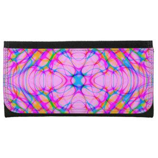 Pastel Pink Kaleidoscope Pattern Abstract Wallets For Women