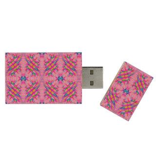 Pastel Pink Kaleidoscope Pattern Abstract Wood USB 3.0 Flash Drive