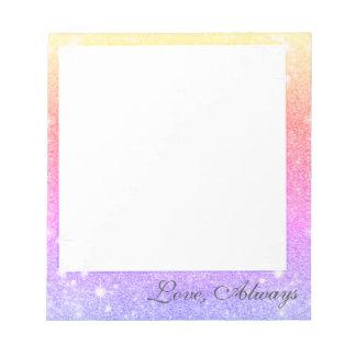 Pastel Pink Lavender Gold Glitter Sparkle Notepad