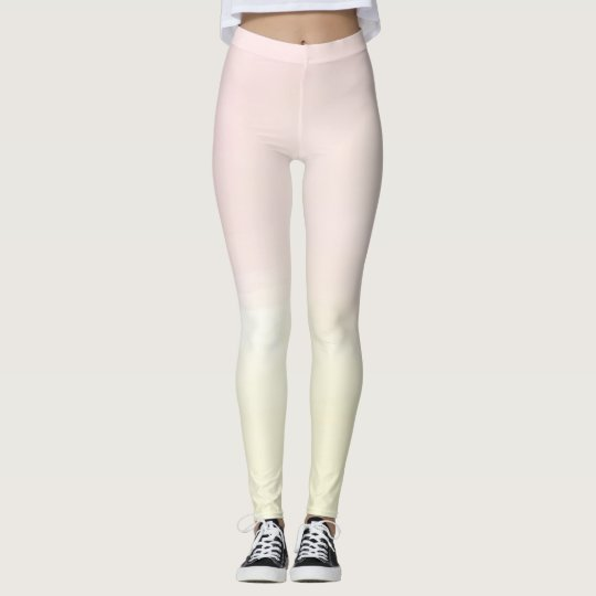 Pastel Pink Lemon Yellow Ombre Womans Leggings