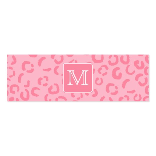 Pastel Pink Leopard Print. Custom Monogram. Business Card