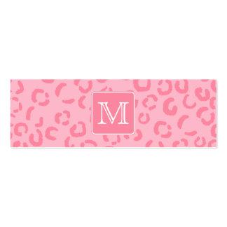 Pastel Pink Leopard Print. Custom Monogram. Mini Business Card