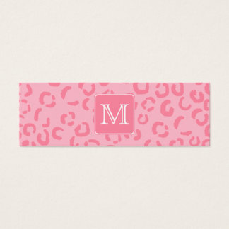 Pastel Pink Leopard Print. Custom Monogram. Mini Business Card
