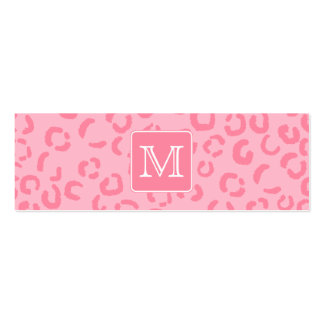 Pastel Pink Leopard Print. Custom Monogram. Pack Of Skinny Business Cards
