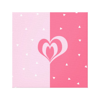 pastel pink love heart geometric triangles pattern canvas print