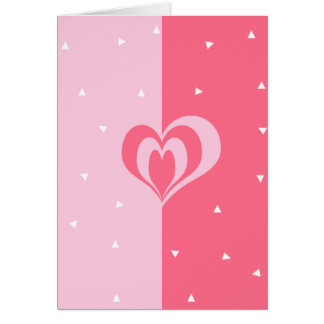 pastel pink love heart geometric triangles pattern card