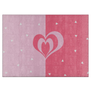 pastel pink love heart geometric triangles pattern cutting board