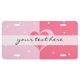 pastel pink love heart geometric triangles pattern license plate