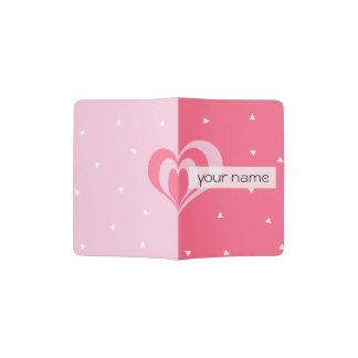 pastel pink love heart geometric triangles pattern passport holder