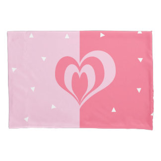 pastel pink love heart geometric triangles pattern pillowcase