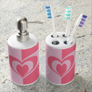 pastel pink love heart geometric triangles pattern soap dispensers