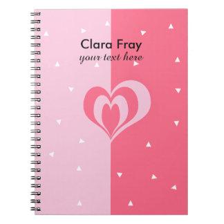 pastel pink love heart geometric triangles pattern spiral notebook