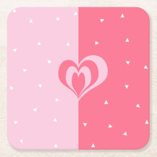 pastel pink love heart geometric triangles pattern square paper coaster