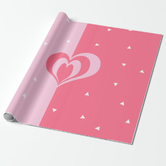 pastel pink love heart geometric triangles pattern wrapping paper