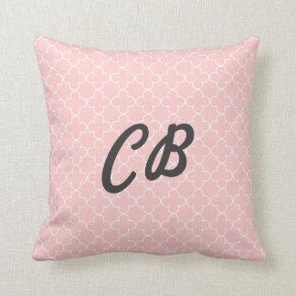Pastel pink monogram quatrefoil pattern pillow